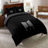 New 2020 Theme BTS Printed Comforter Sets Black Duvet Cover Set Bedding Sets (4569309216904)