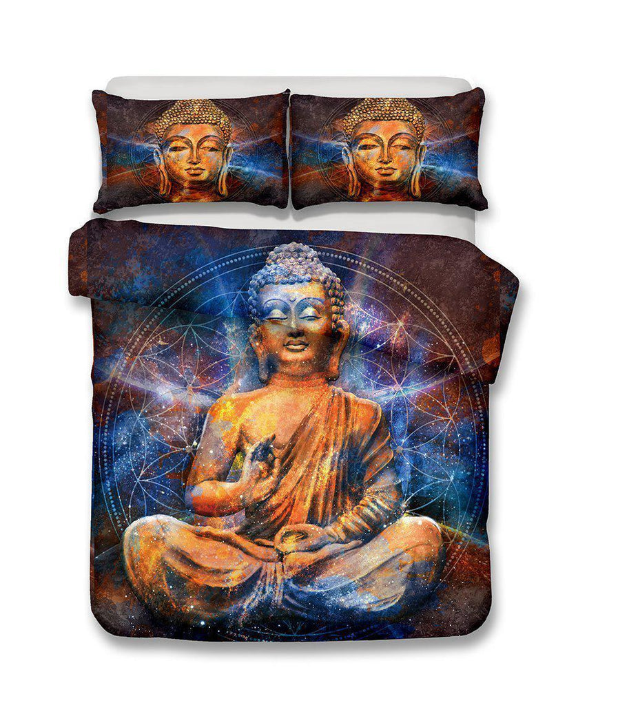 Queen King Size Print Bedding Buddha Green Theme Bedding Sets Buddhist Culture Comforter Boho Bedspreads-Kitkae-Kitkae-Koalabedding (1424169533491)