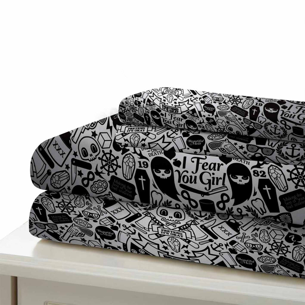 Sugar Skull Bedding Sets Black Comforter Cover for Teens Bedroom (5486499528868)