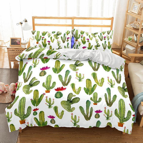 Wholesale-3D Art Pattern Cactus Printed 5 Bedding Sets Duvet Cover Set-Mr Koala