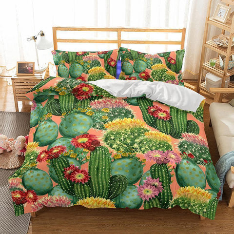 Wholesale-3D Art Pattern Cactus Printed Bedding Sets Duvet Cover Set-Mr Koala