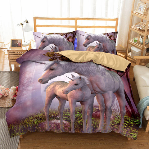 Wholesale Bedding 3D Unicorn Printed Girls Kids Bedding Sets-Mr Koala
