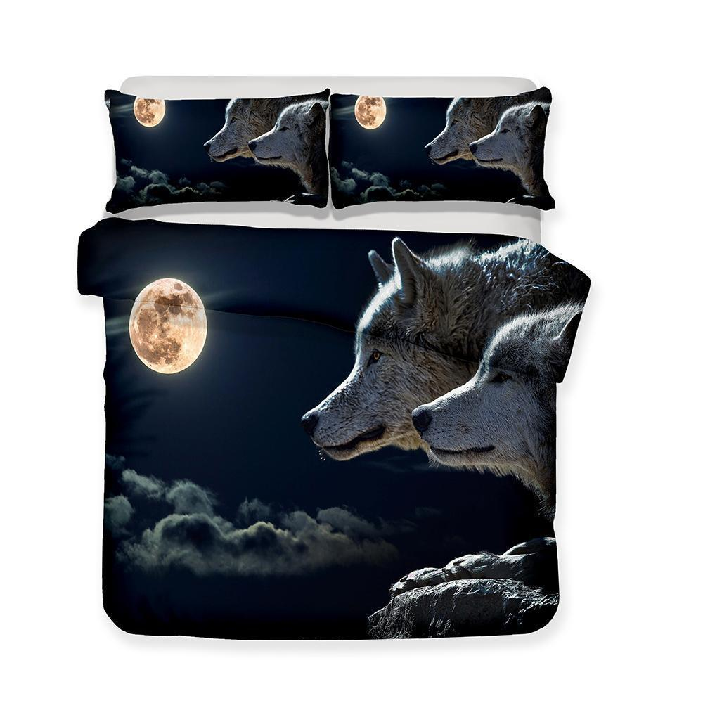 Wolf Theme 3d Pattern Print Bed Cover 3 Piece Set Bed Linen All Sizes (1423987441715)