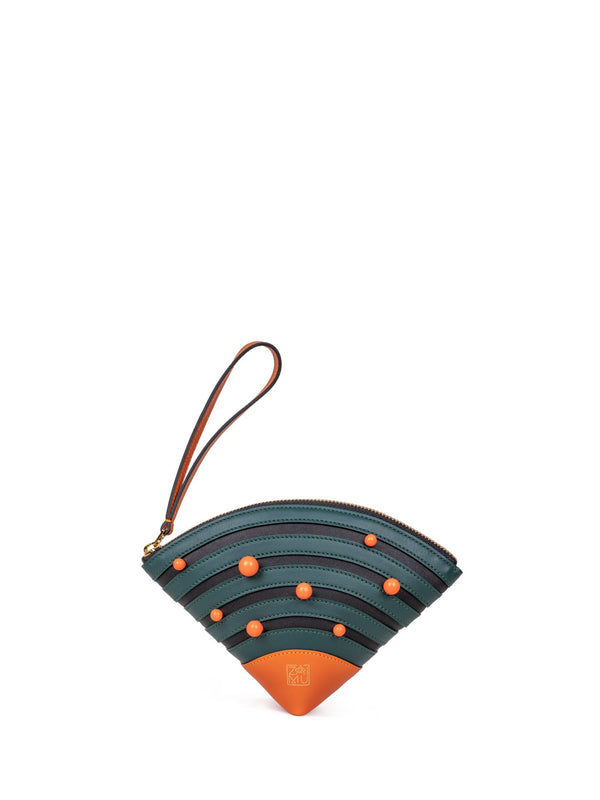 Cute Fan Clutch Bag in Moss & Orange Color