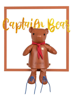 Caramel Leather Bear Backpack