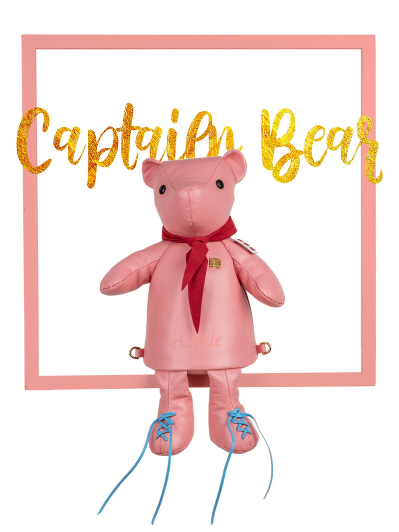 Pink Bear Leather Backpack Bag