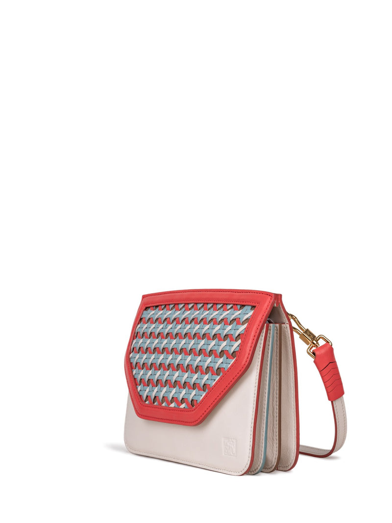 handwoven leather crossbody bag in red & white