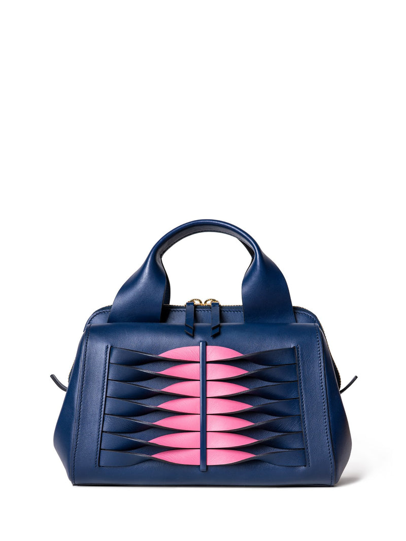 Shoulder bag with handle in blue leather