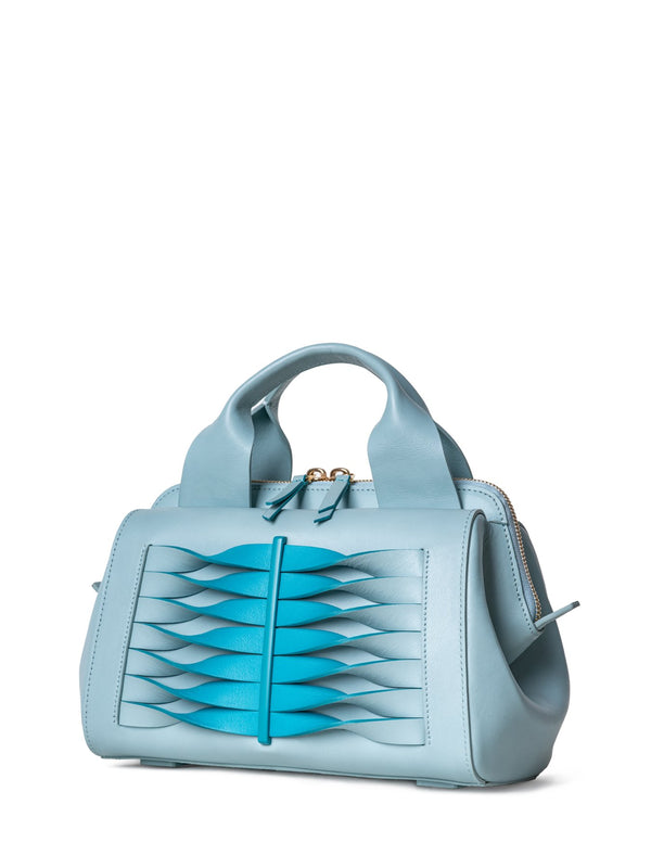 Italian leather crossbody bag in mint blue