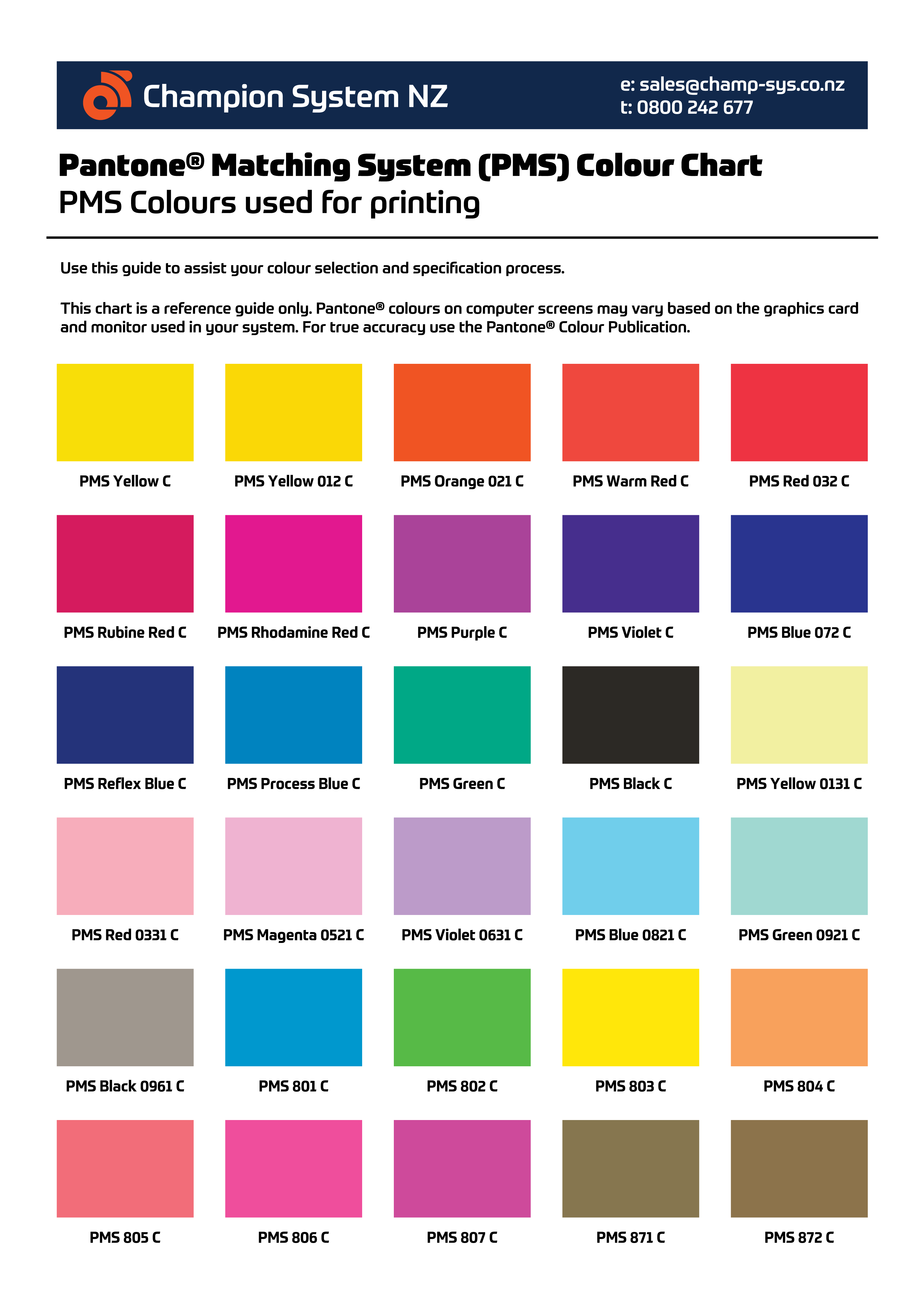 Chart pms matching Find Colour