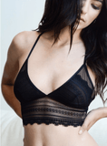 Beautiful Scallop Lace Longline Bralette - Grunge Attire