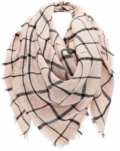 Knitted Plaid Light Pink Square Scarf