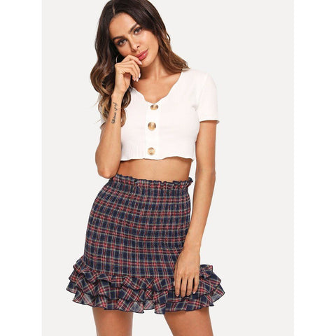 Ruffle Plaid Bodycon Skirt - Grunge Attire