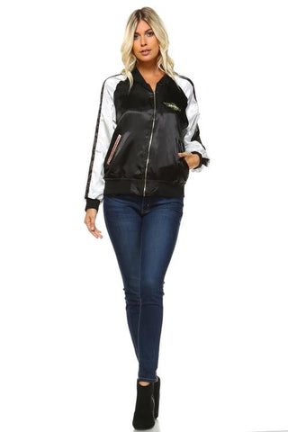Women's Stripe Bomber Jacket - Grunge Attire