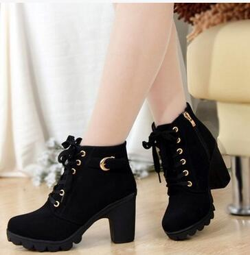 High Quality Solid Lace-up Leather Fashion Boots - Grunge Attire