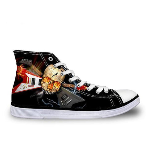 Forudesigns Classic Punk Skull and Guitar Canvas Shoes