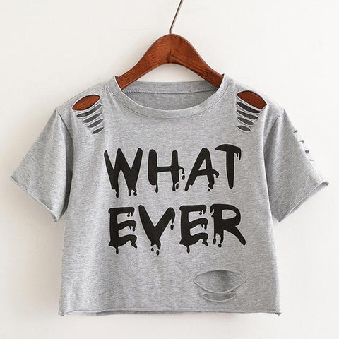 Women's Distressed  'What Ever' Crop Top - Grunge Attire