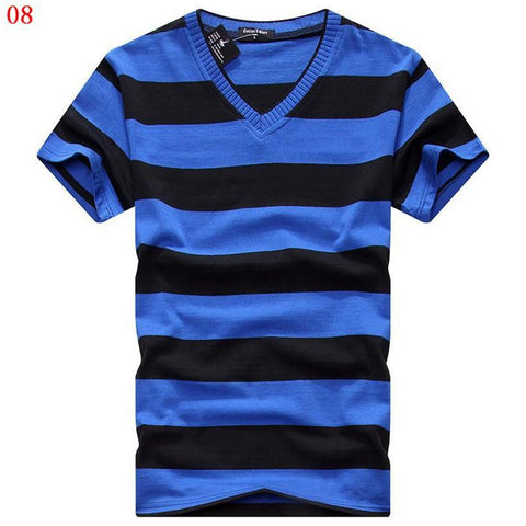 Striped V-Neck T Shirt - Grunge Attire