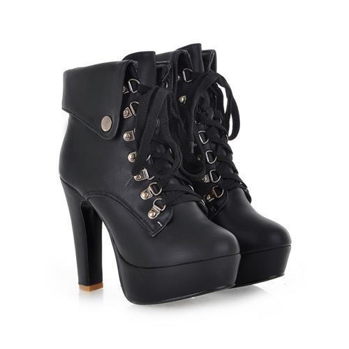Lace-up Ankle High Heel Platform Boots - Grunge Attire