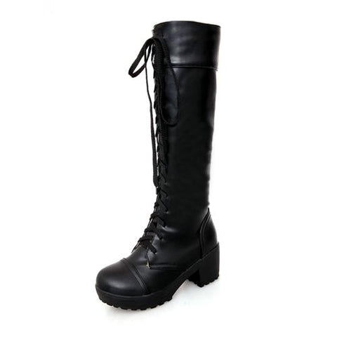 Lace Up Knee High Leather Boots - Grunge Attire