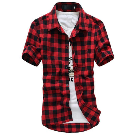 Mens Short Sleeve Checkered Shirt - Grunge Attire