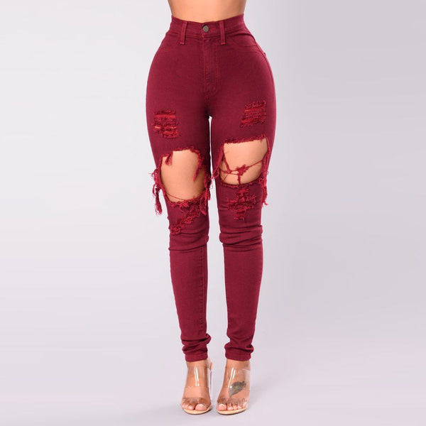 Wine Red Ripped Casual Jeans - Grunge Attire