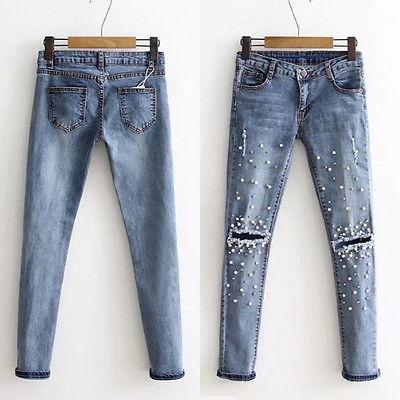 Ripped Pearl Embroidered Slim Jeans - Grunge Attire
