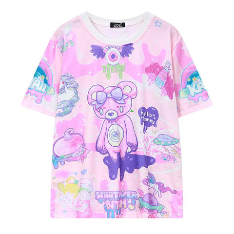Pastel Pink Bear Monsters 'Whatever' T-Shirt - Grunge Attire