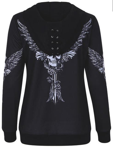 Women's Angel Wing Skull Print Lace-Up Hooded Pullover