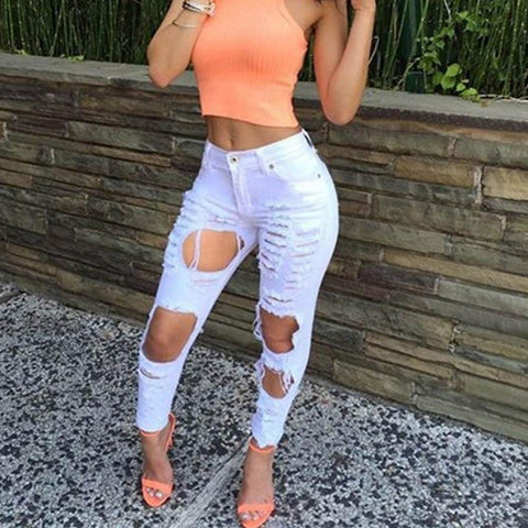 Skinny-fit High Waist Ripped Jeans - Grunge Attire