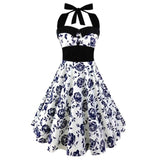 Women's Bow-knot Gothic Punk Strapless Halter Party Dress - Grunge Attire