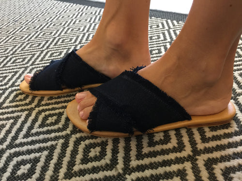 Denim Cross Sandal