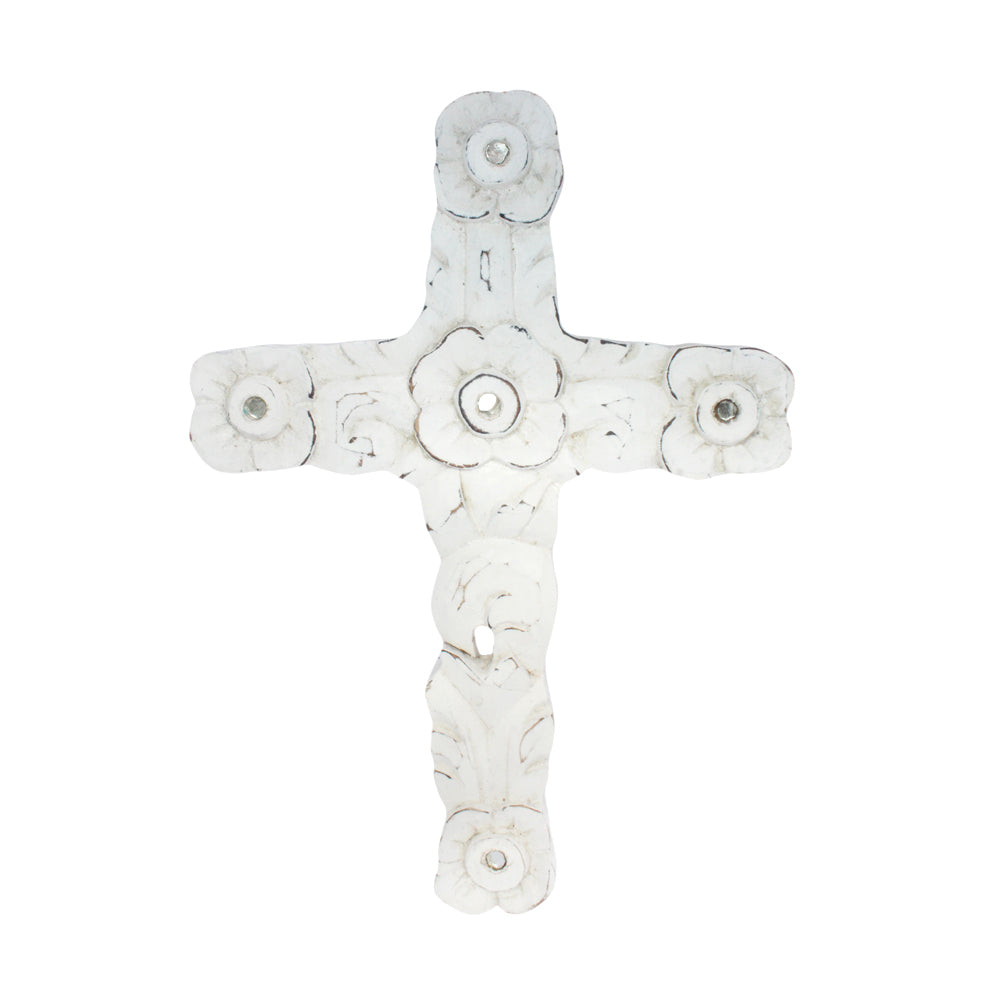 Wood - Carved Cross With Mirror
