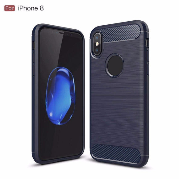 Shell Carbon Fiber Brushed Soft TPU Silicone Case for Phone x
