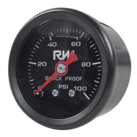 RACEWORKS FUEL PRESSURE GAUGE 0-100PSI LIQUID FILLED