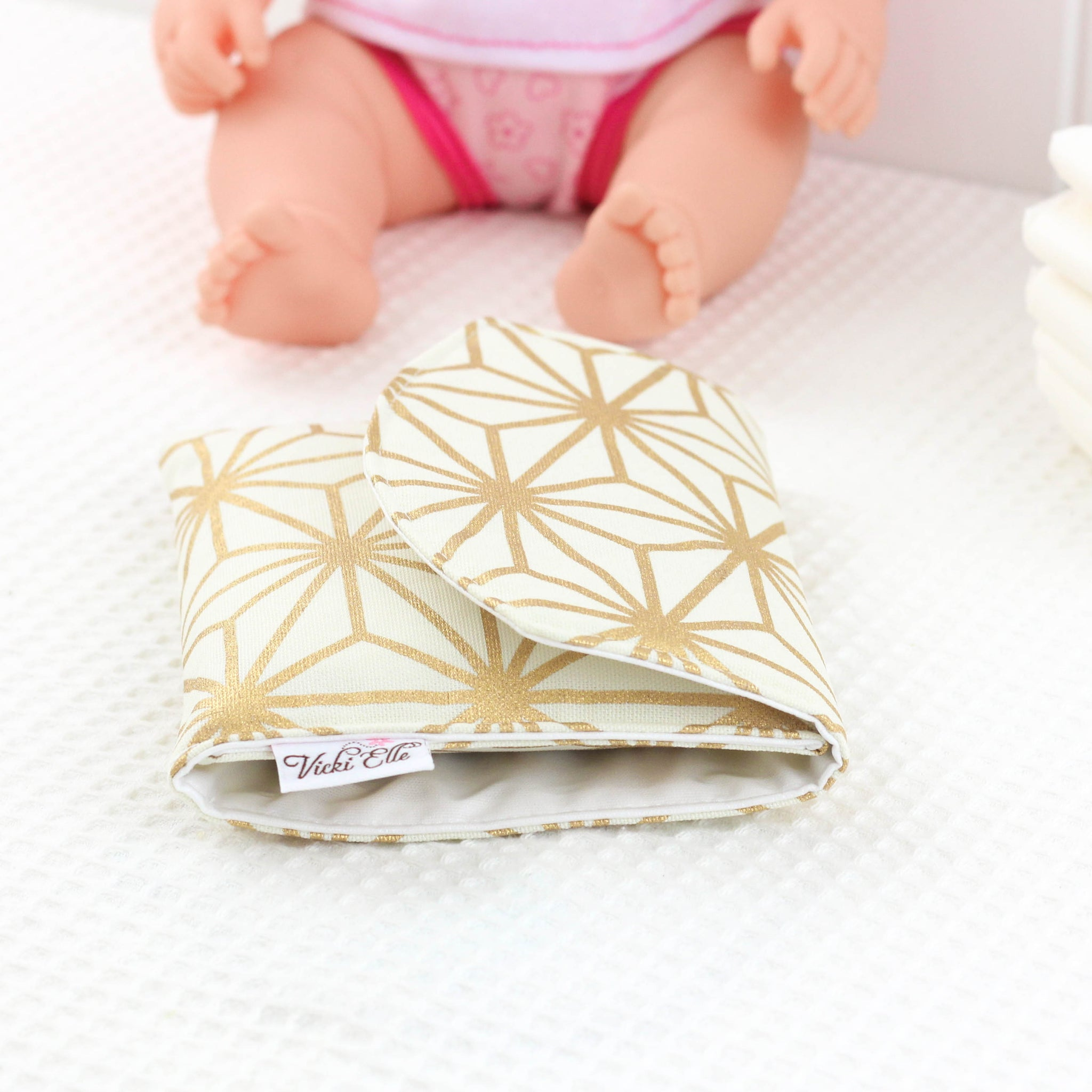Doll Nappy Wallet - Gold Geometric
