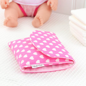 Doll Nappy Wallet - Pink and White Hearts