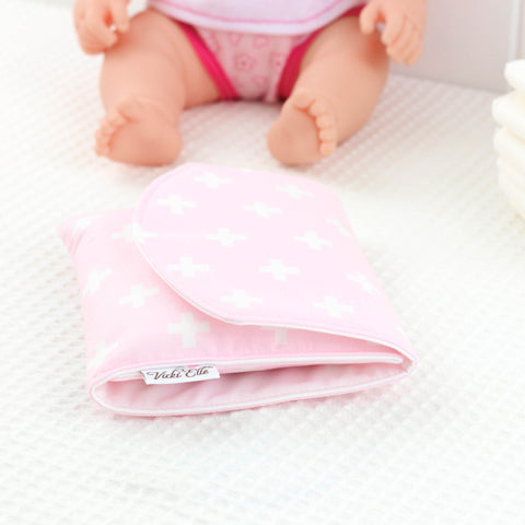 Doll Nappy Wallet - Pink and White Crosses