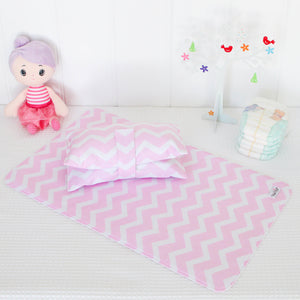 Nappy Wallet and Change Mat Set  - Pink and White Chevron