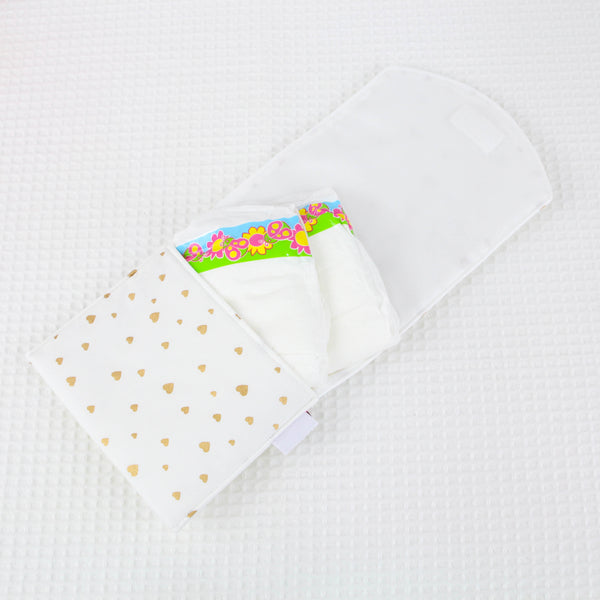 Doll Nappy Wallet - Gold Hearts