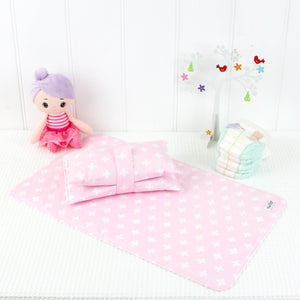 Nappy Wallet and Change Mat Set  - Pink and White Crosses