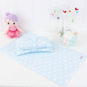 Nappy Wallet and Change Mat Set  - Blue and White Crosses