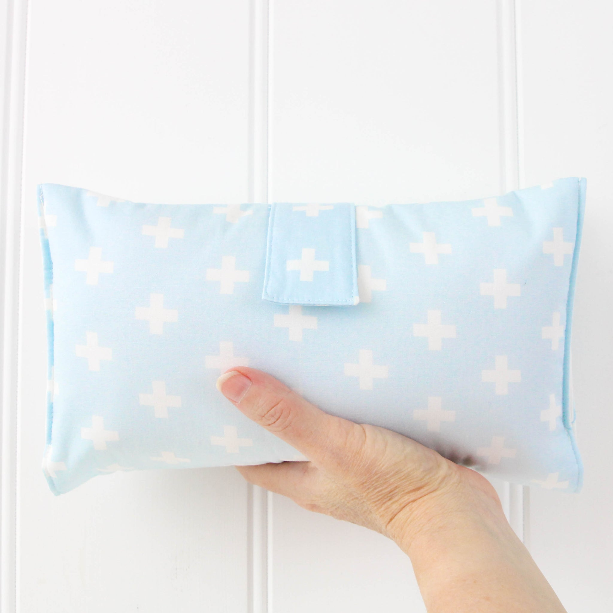 Nappy Wallet - Blue and White Crosses