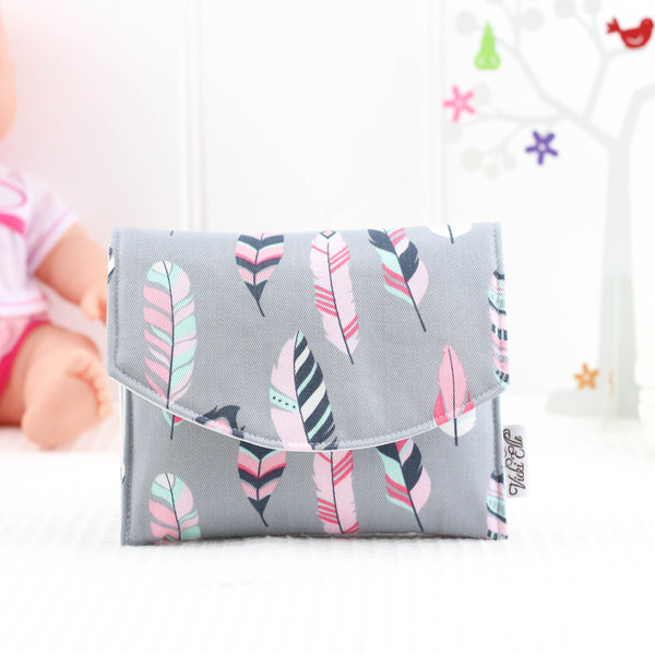 Doll Nappy Wallet - Grey and Pink Feathers
