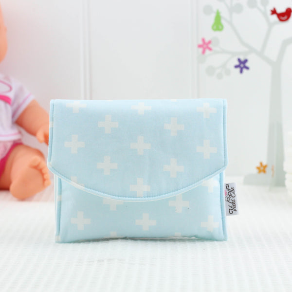 Doll Nappy Wallet - Blue and White Crosses