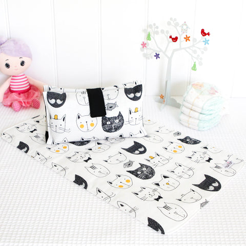 Nappy Wallet and Change Mat Set  - Black and White Cats