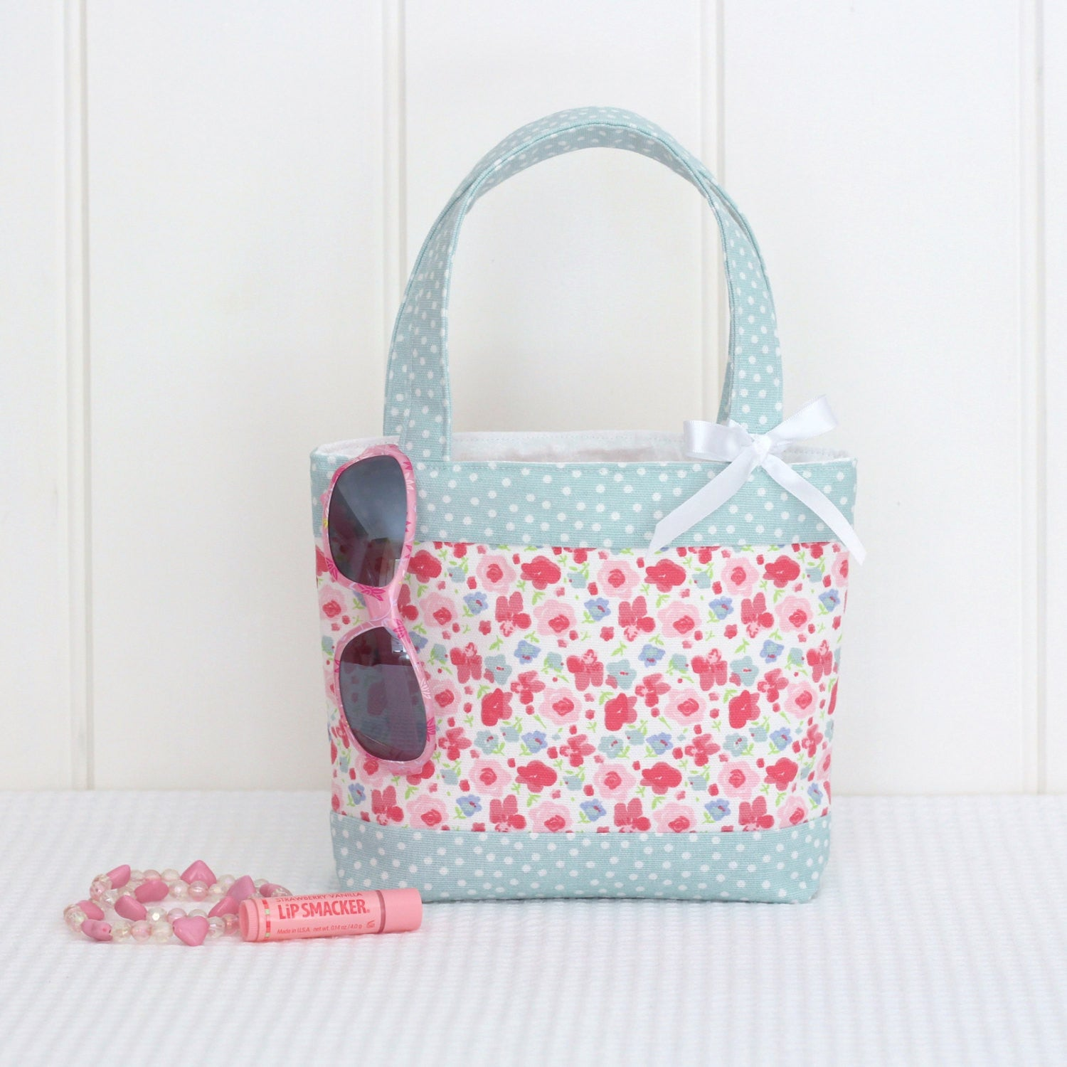 Little Girls Bag - Mint Spot & Pink Floral