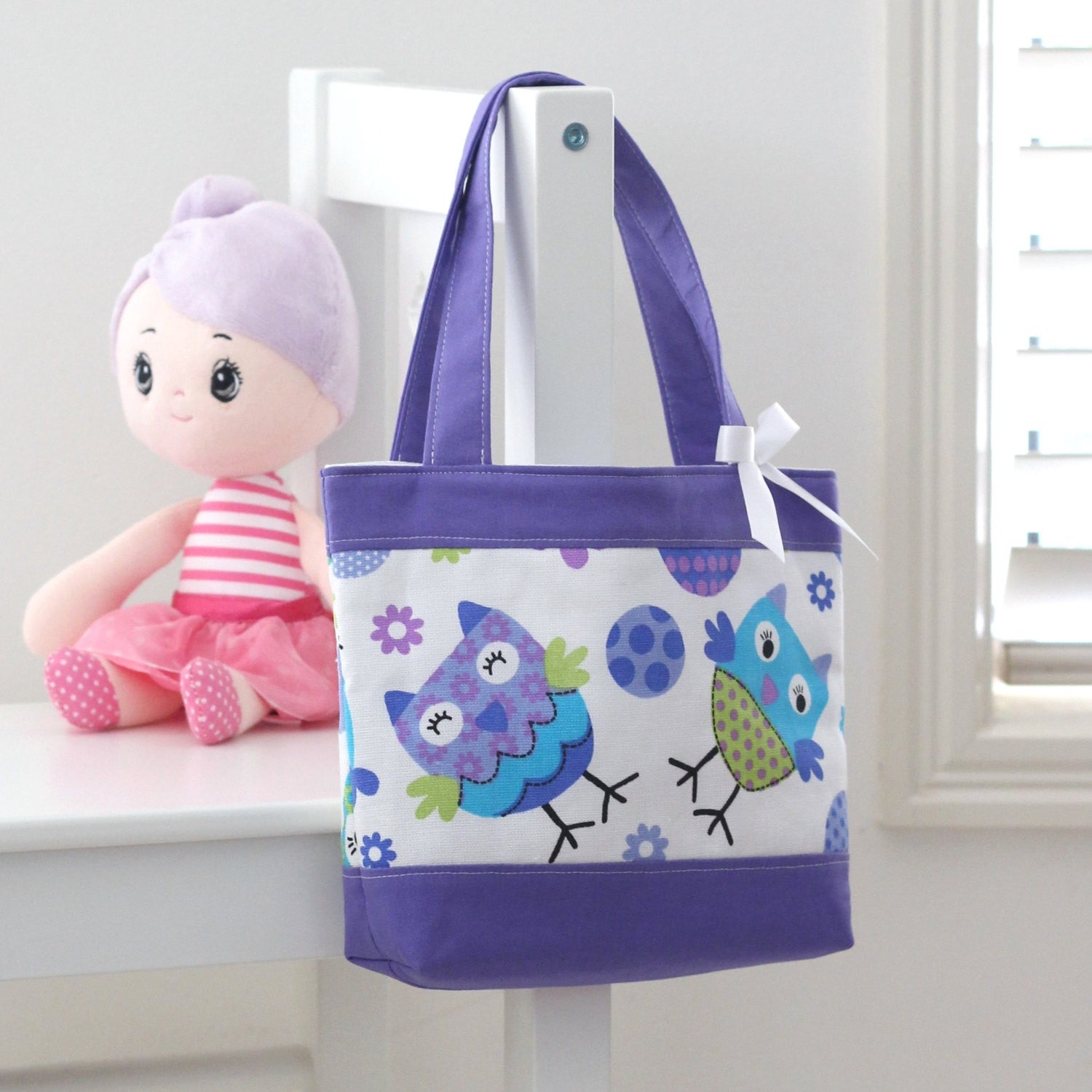 Little Girls Bag - Purple Owls