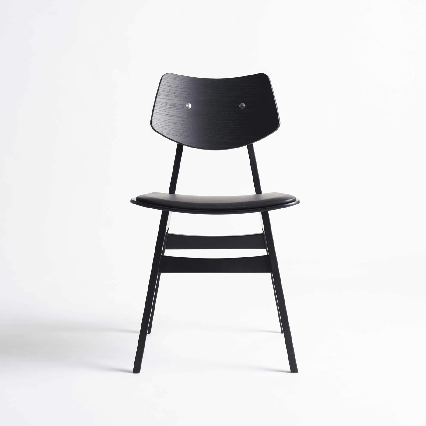 1960 Wood Chair black oak with black leather offset seat