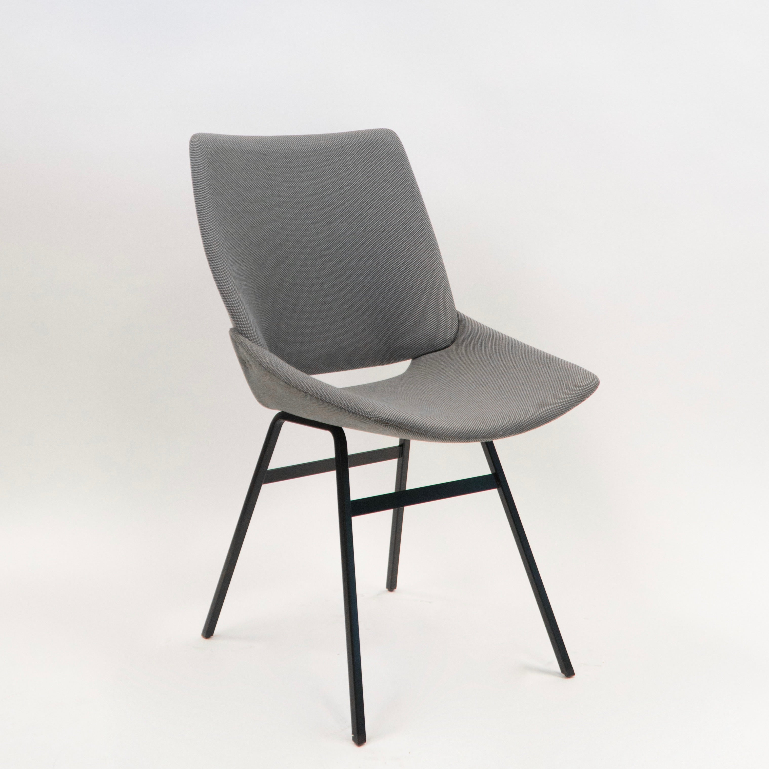 Shell Chair fully upholstered in Rohi prime grey textile